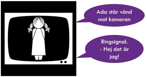 Illustration: TV-skärm med två pratbubblor