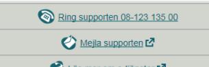 """Länktexter: """"Ring supporten 08-12313500"""" och """"Maila supporten"""" (med ikon som visar att länken öppnas i annat fönster)"""