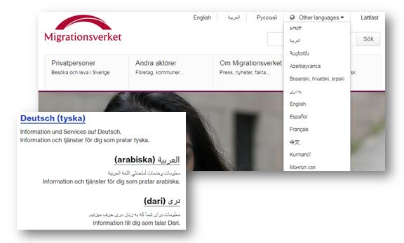 Skärmbilder som visar hur Migrationsverket och Försäkringskassan presenterar information på olika språk.