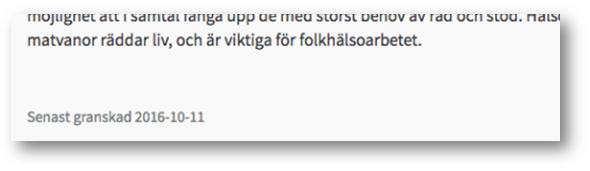 """Efter textstycket står: """"Senast granskad 2016-10-11"""""""