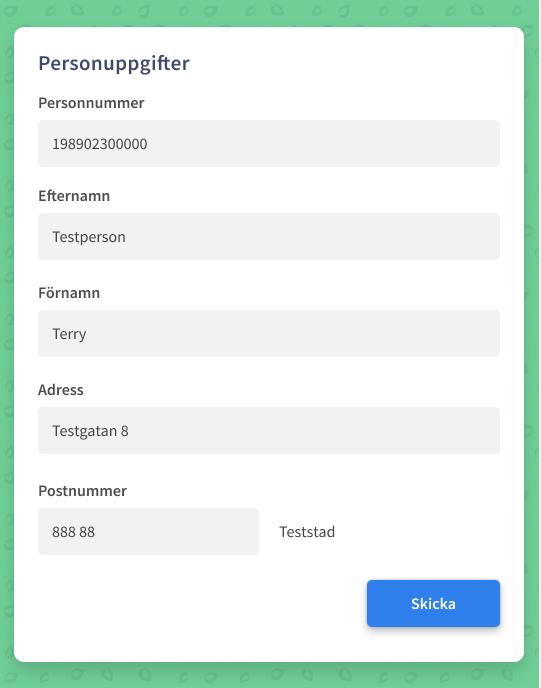 Ett designat formulär med fält för att fylla i olika personuppgifter.