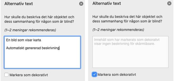 Redigeringsruta för alternativtext: Hur skulle du beskriva det här objektet och dess sammanhang för någon som är blind? 1-2 meningar rekommenderas. I textfält står: En bild som visar karta (automatiskt genererad beskrivning). Kryssruta: Markera som dekorativt.